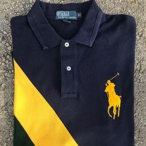 Vtg Polo Ralph Lauren Sash Stripe Shirt Brazil